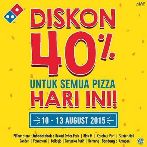Domino's Pizza Diskon 40% untuk Semua Pizza