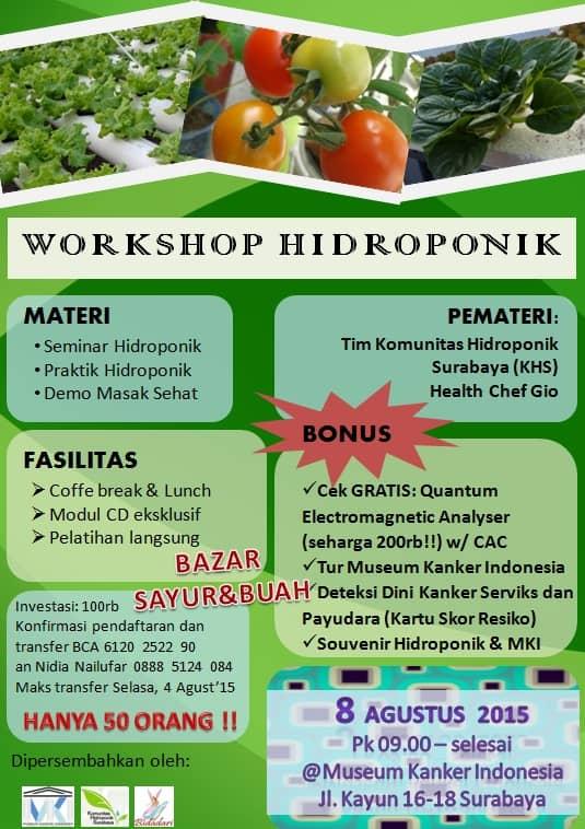 Workshop Hidroponik dan Hidup Sehat di Surabaya