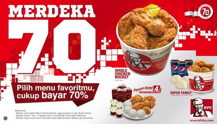KFC Promo Merdeka 70 Hanya Bayar 70%