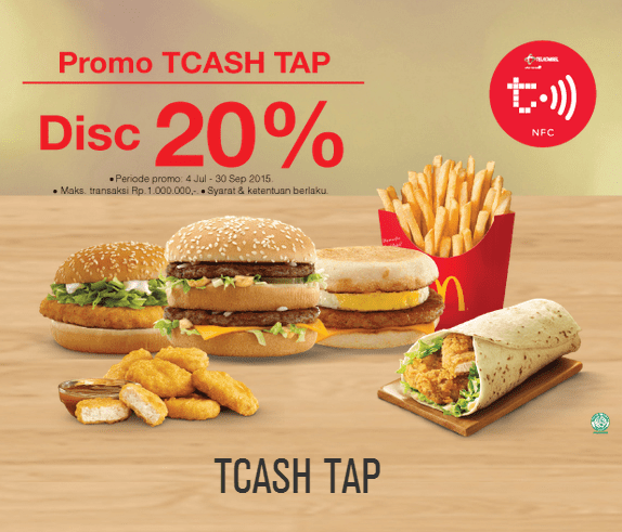 Mc Donalds Promo TCash Tap Telkomsel Diskon 20%