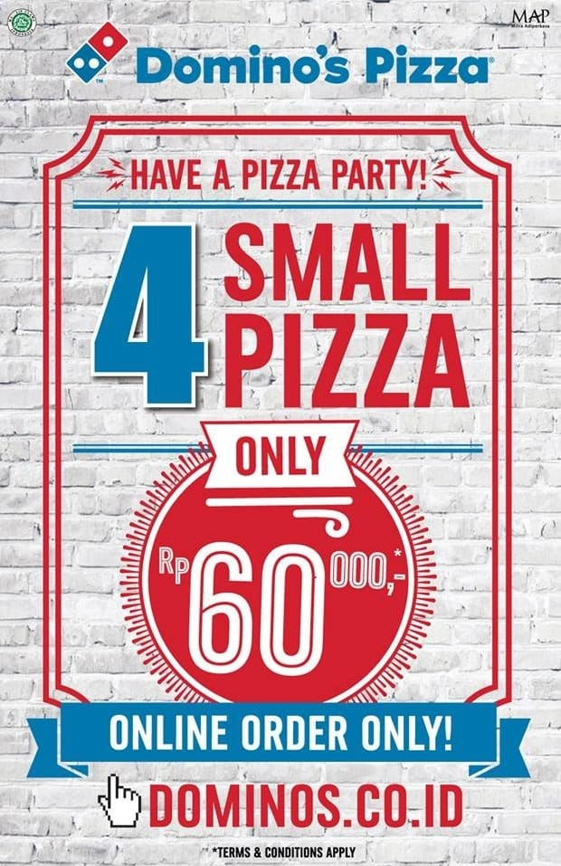 Domino's Pizza Promo 4 Small Pizza only Rp. 60.000,-
