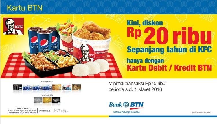 KFC Promo Hemat Diskon Rp. 20.000,- Sepanjang Tahun