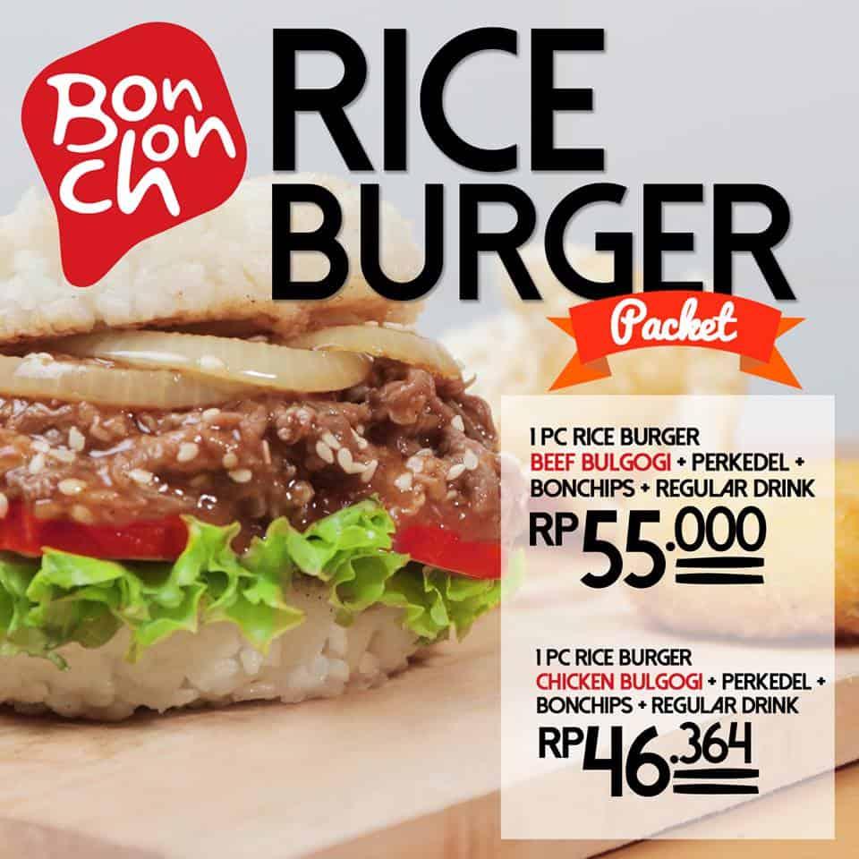 Bonchon Promo Menu Baru Rice Burger Packet Harga Mulai Dari Rp. 46.364,-