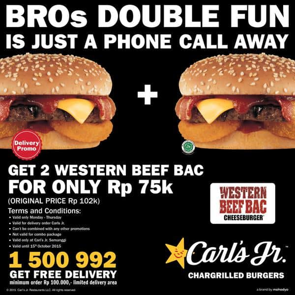Carl's Jr Delivery Promo Get 2 Western Beef Bac For Only Rp. 75K!