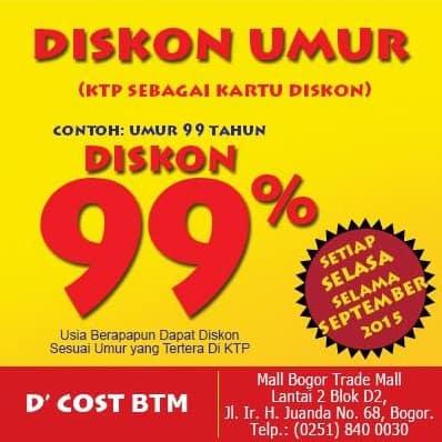 D'Cost Promo Diskon Umur Hingga 99%!