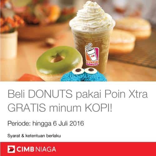 Dunkin Donuts Promo CIMB Niaga Poin Extra Gratis Minum Kopi
