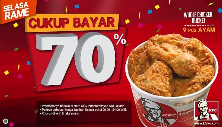 KFC Promo Selasa Rame Cukup Bayar 70%