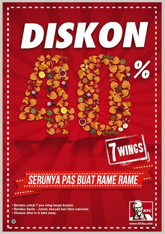 KFC Promo 7 Chicken Wings (Tanpa Bucket) Diskon 40%