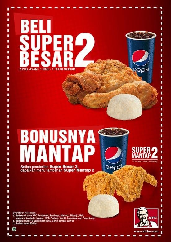 KFC Promo Super Besar 2 Mantab Bonusnya