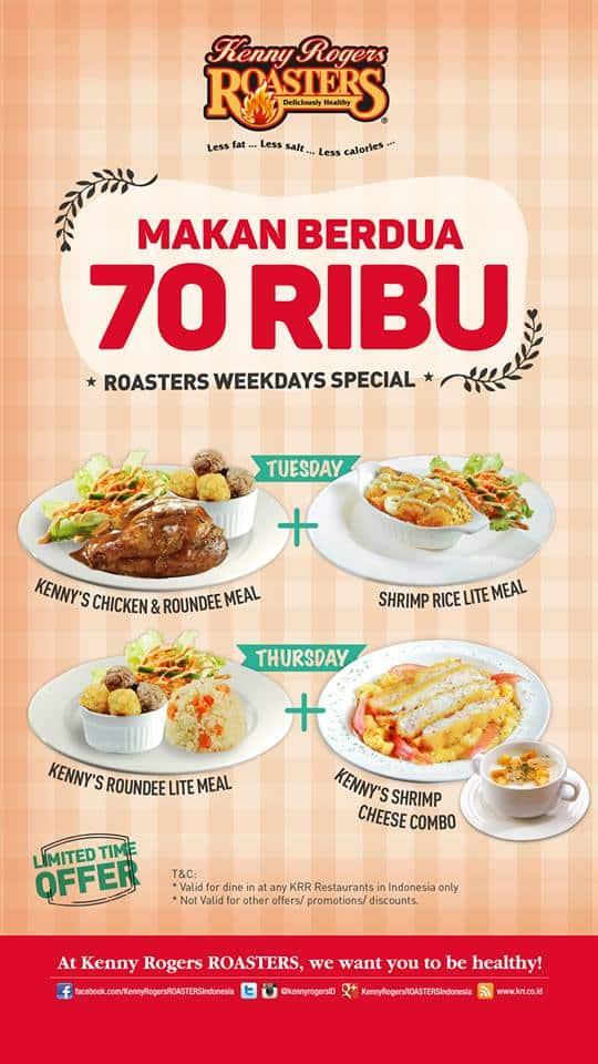 Kenny Rogers Roasters Promo Makan Berdua Rp 70 Ribu Setiap Selasa dan Kamis