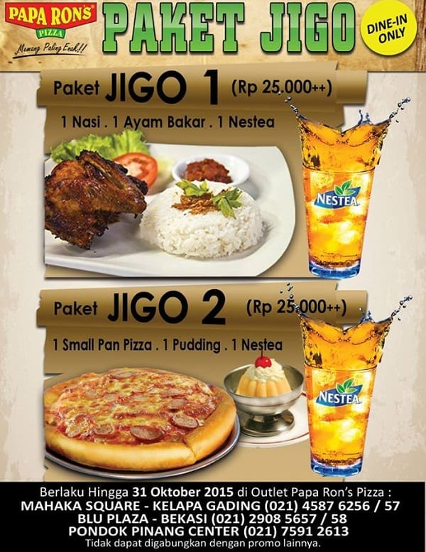 Papa Ron's Pizza Promo Paket Jigo Hanya Rp. 25.000,-