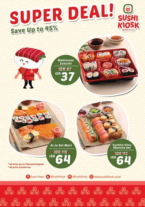 Sushi Kiosk Promo Super Deal! Save Up to 45%