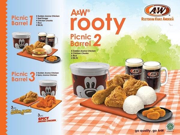 A&W Restaurant Promo Rooty Picnic Barrel Gratis Hadiah Langsung