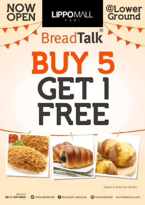 BreadTalk Promo Buy 5 Get 1 Free