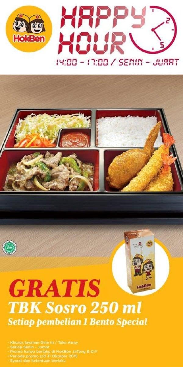 Hoka Hoka Bento Promo Happy Hour Gratis TBK Sosro 250 ml