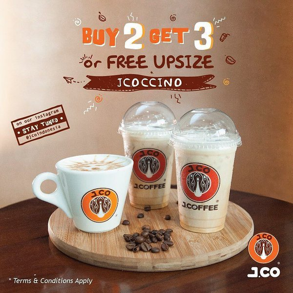 J.Co Coffee Promo Buy 2 Get 3 or Free Upsize JCoccino