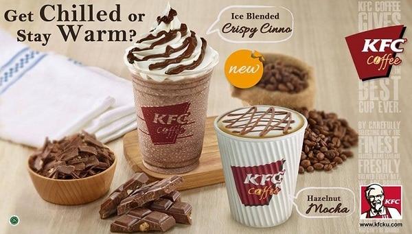 KFC Coffee Promo Menu Baru Ice Blended Crispy Cinno dan Hazelnut Mocca