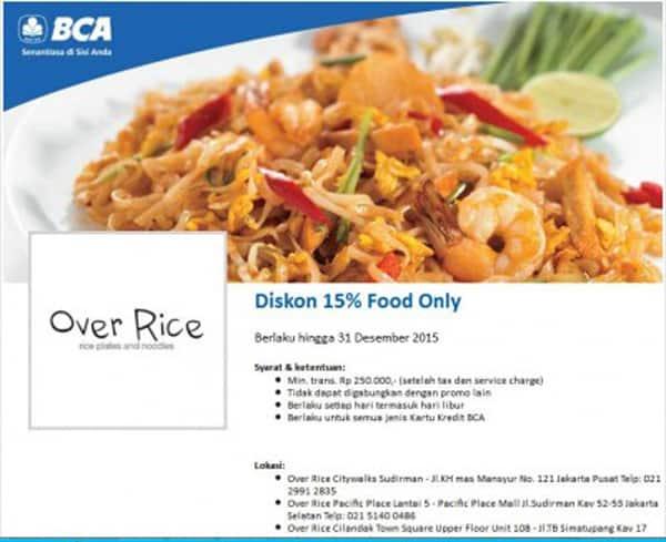 Over Rice Resto Promo Diskon 15% Dengan Kartu Kredit BCA