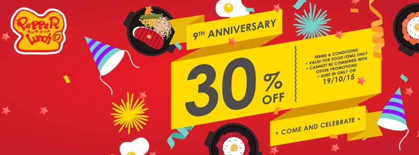 Pepper Lunch 9th Anniversary Promo Diskon 30%