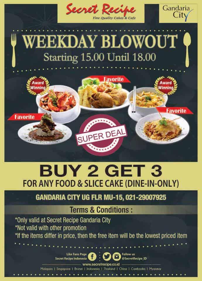 Secret Recipe Promo Weekday Blowout Buy 2 Get 3