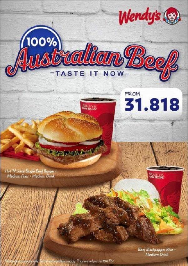 Wendy's Promo Menu Baru Australian Beef Harga Mulai Rp. 31.818,-