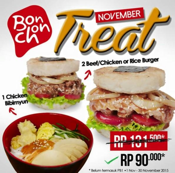 BonChon Chicken Bibimyun dan Rice Burger Hanya Rp. 90.000,-
