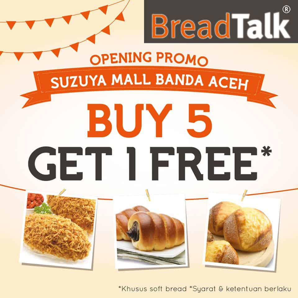 BreadTalk Promo Buy 5 Get 1 Free di Suzuya Mall Banda Aceh