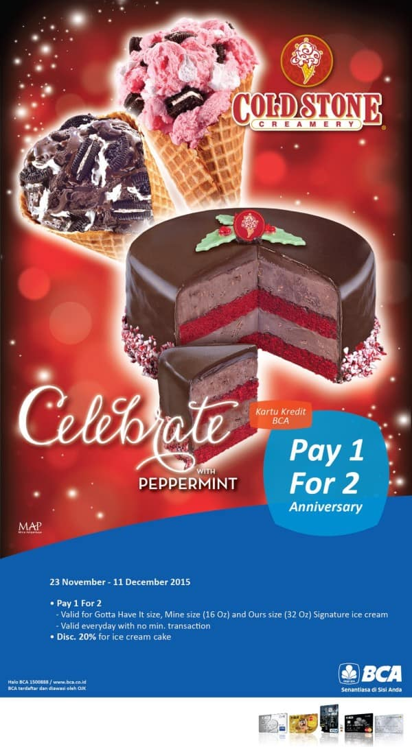Cold Stone Promo Anniversary Pay 1 For 2 & Diskon 20%