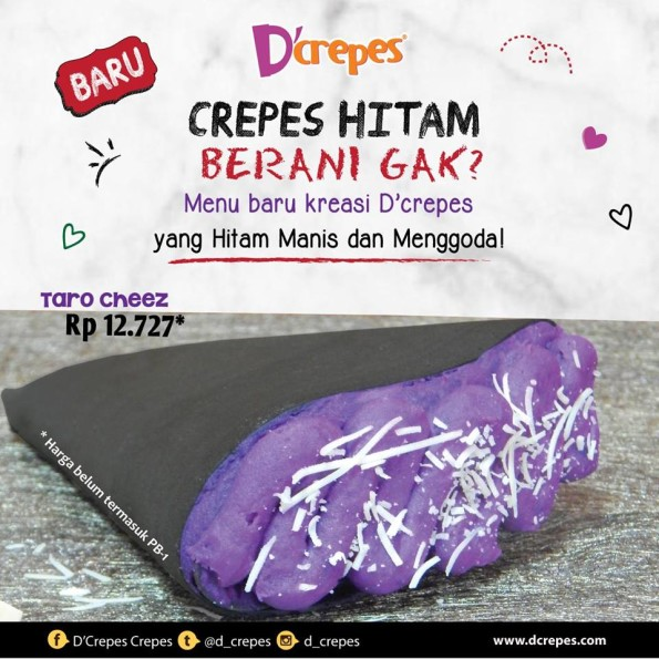 D'Crepes Promo Menu Baru Taro Cheez Hanya Rp. 12.727,-