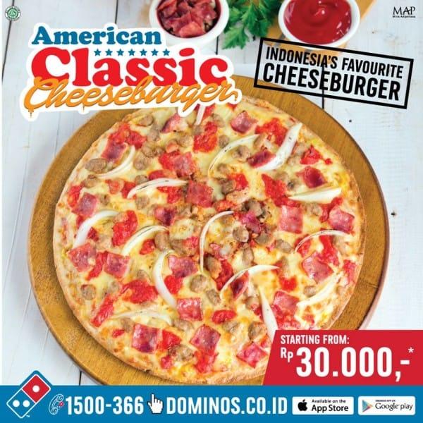 Domino's Pizza Promo American Classic Cheeseburger Harga Mulai Dari Rp. 30.000,-