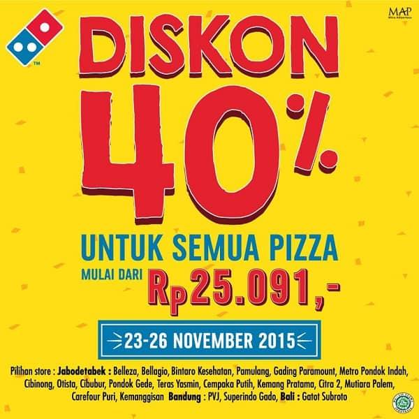 Domino's Pizza Promo Diskon 40% Untuk Semua Pizza Mulai Dari Rp. 25.091,-