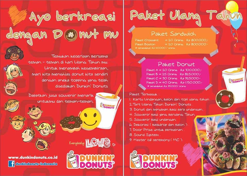 Dunkin Donuts Promo Paket Ulang Tahun Harga Mulai Dari Rp. 700.000,-