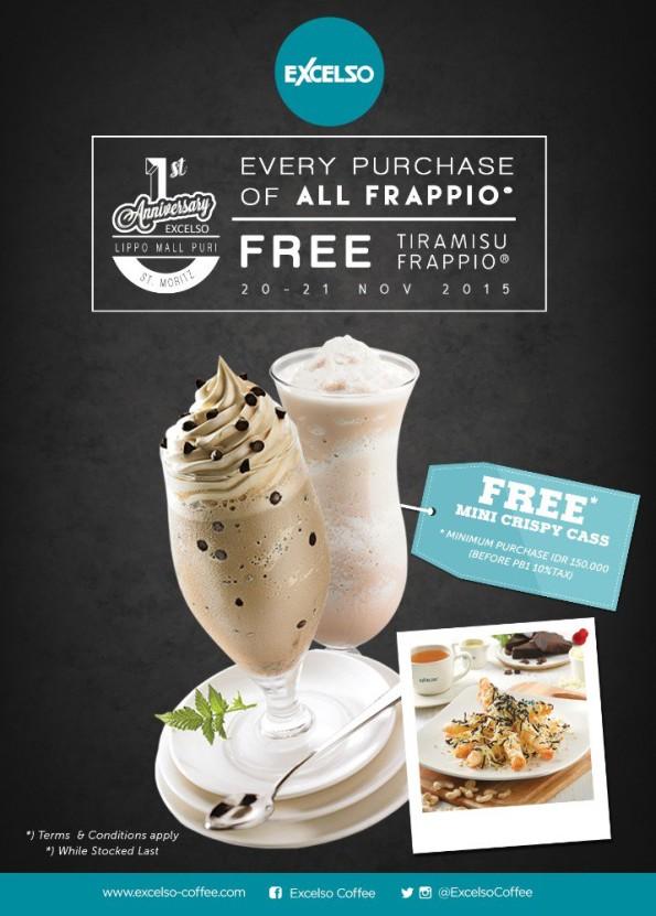 Excelso Coffee Promo All Frappio Free Tiramisu Frappio & Mini Crispy Cass