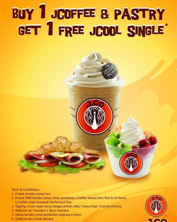 J.Co Special Opening Promo Buy 1 JCoffee & Pastry Get 1 Free JCool Single