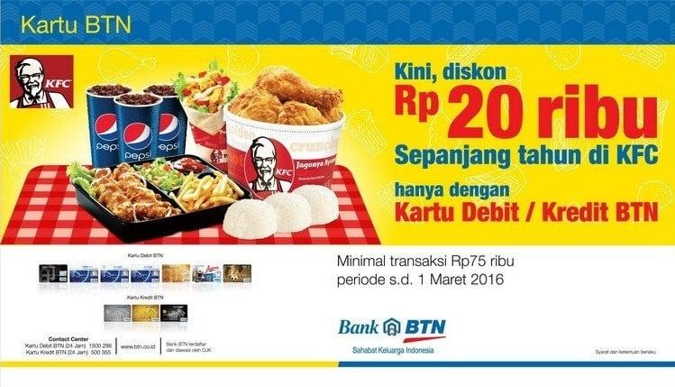 KFC Promo Makan Hemat Diskon Rp. 20.000,- Sepanjang Tahun