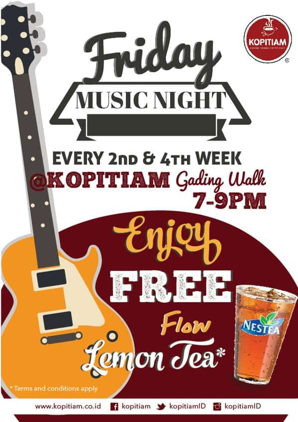 Kopitiam Promo Friday Music Night Free Flow Lemon Tea