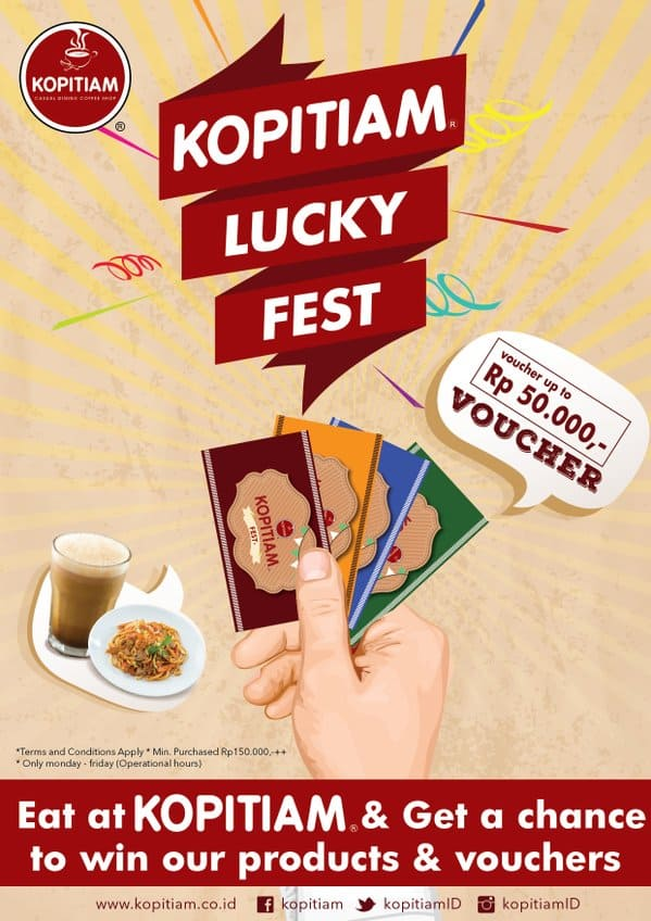 Kopitiam Promo Lucky Fest Free Voucher Up To Rp. 50.000,-