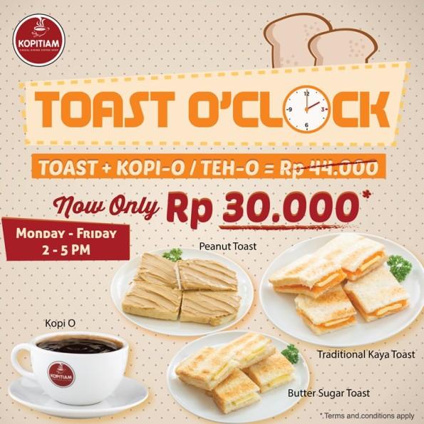 Kopitiam Promo Toast O'Clock Hanya Rp. 30.000,-