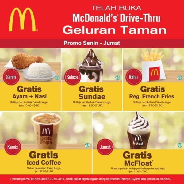 McDonald's Drive Thru Promo Gratis Menu Spesial Setiap Hari
