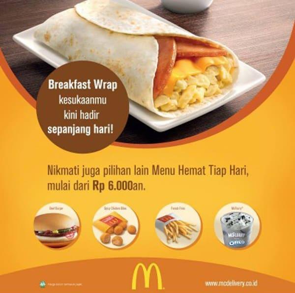 McDonald's Promo Breakfast Wrap Harga Mulai Dari Rp. 6.000,-