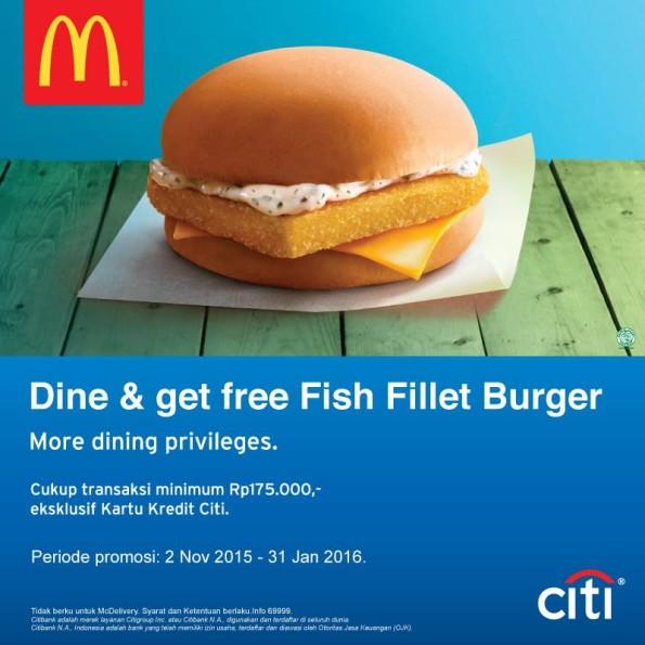 McDonalds Promo Dine Free Fish Fillet Burger