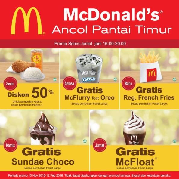 McDonald's Promo Diskon 50% Soft Opening Di Ancol Pantai Timur