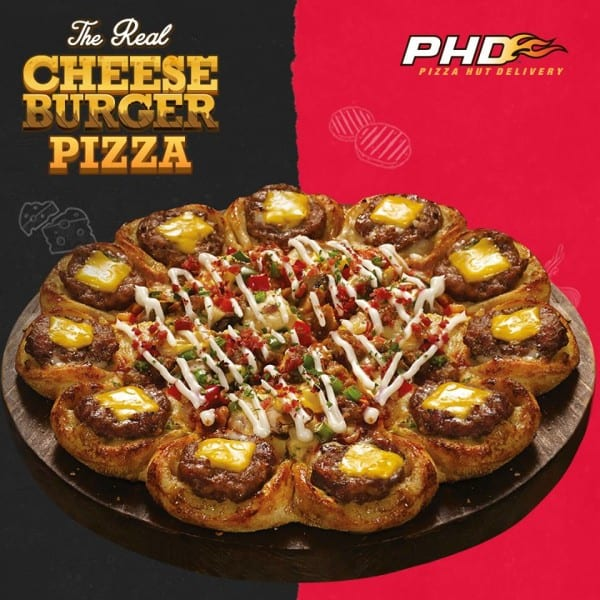 PHD Pizza Hut Promo Duet Cheese Burger Pizza Harga Spesial Rp. 142.000,-