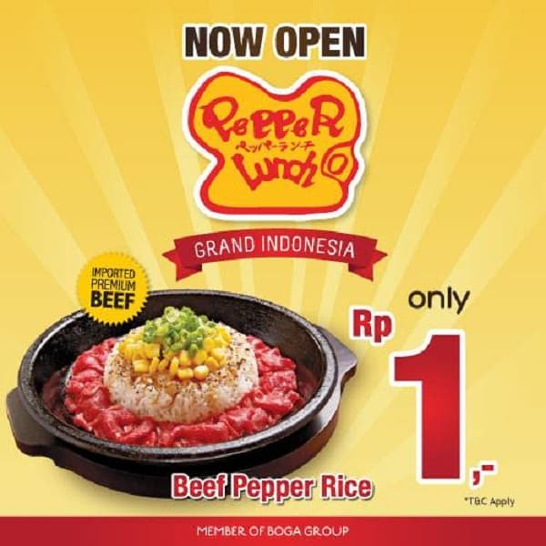 Pepper Lunch Grand Indonesia Promo Beef Pepper Rice Hanya Rp 1,-