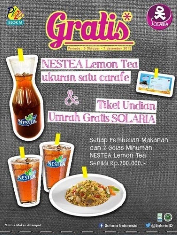 Solaria Promo Gratis Nestea Lemon Tea dan Tiket Undian Umrah