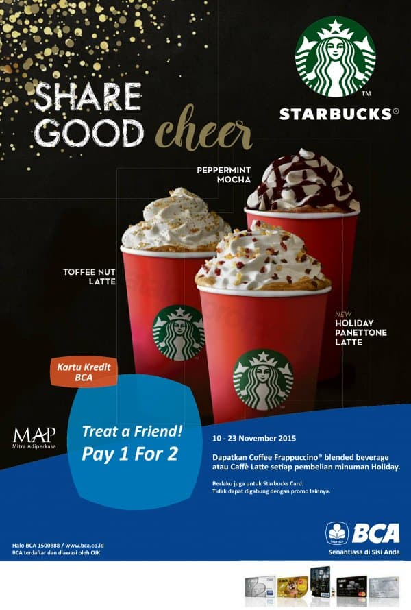 Starbucks Promo Treat a Friend Pay 1 For 2
