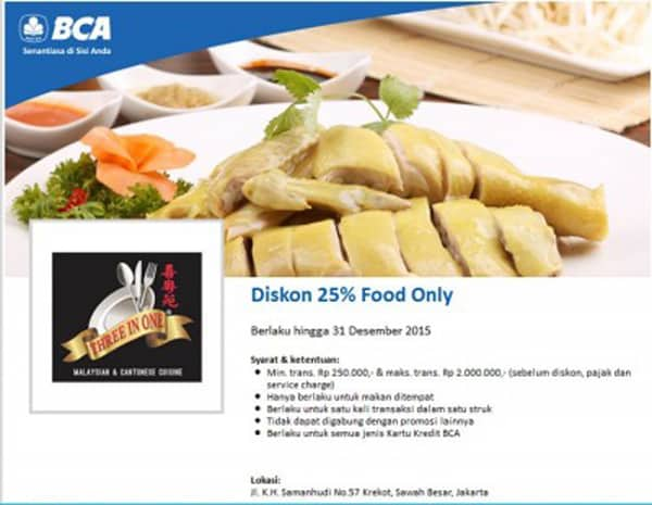 Three In One Restaurant Promo Diskon 25% Pakai Kartu Kredit BCA