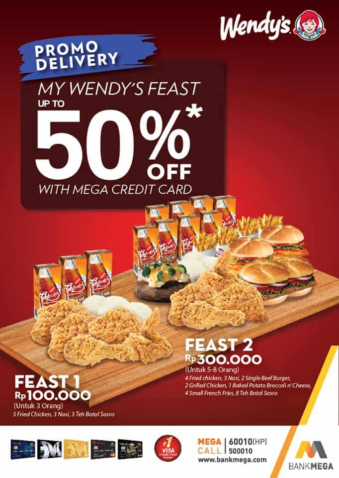 Wendy's Delivery Promo Diskon 50% Pakai Kartu Kredit Bank Mega