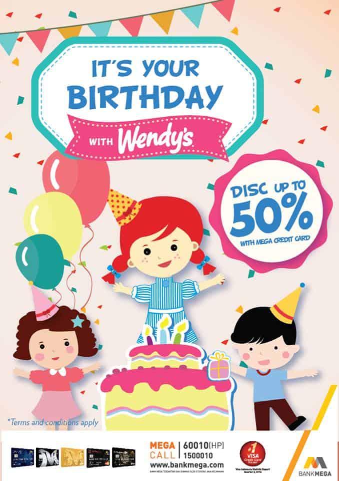 Wendy's Promo Spesial Ulang Tahun Diskon 50%