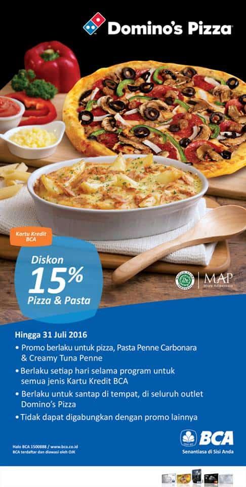 Domino's Pizza Promo Diskon 15% Pakai Kartu Kredit BCA
